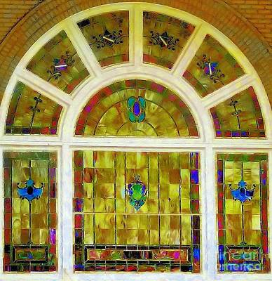 Photograph - Stained Glass From First Baptist In Yale Ok by Janette Boyd