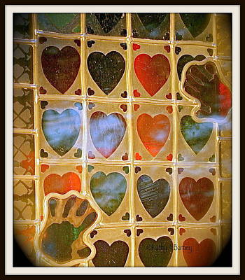 Art Print featuring the photograph Stained Glass Hands And Hearts by Kathy Barney