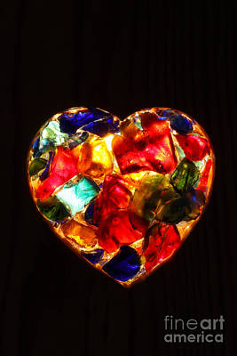Stained Glass Heart Print by Kerstin Ivarsson