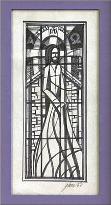 Drawing - Stained Glass Jesus 1967 by Glenn Bautista