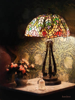 Stained Glass Lamp And Vase Of Flowers Art Print