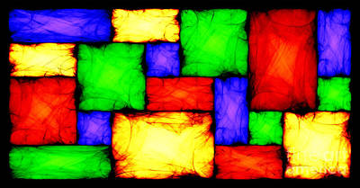 Algorithmic Digital Art - Stained Glass - Move Up And Step Down I by Sander Kleynend