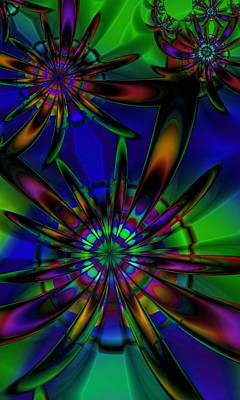 Digital Art - Stained Glass Passion Flowers by Kiki Art