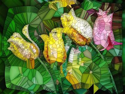 Digital Art - Stained Glass Series - Tulips by Ron Grafe