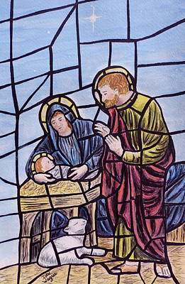 Painting - Stained Glass Style Nativity by Dan Wagner