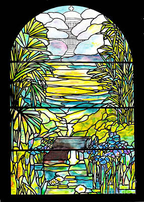 Stained Glass Tiffany Holy City Memorial Window Art Print by Donna Walsh