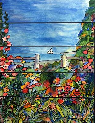 Stained Glass Tiffany Landscape Window With Sailboat Art Print by Donna Walsh