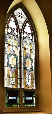 Photograph - Stained Glass Window In Arch by Susan Garren