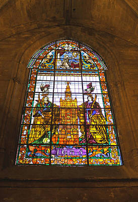 Photograph - Stained Glass Window In Seville Cathedral by Tony Murtagh