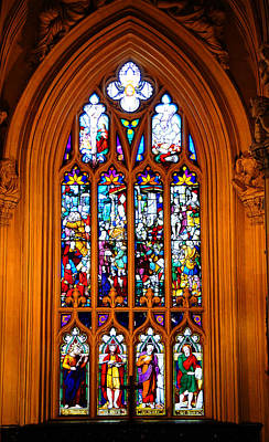 Stained Glass Ireland Photograph - Stained-glass Window In The Gothic Revival Chapel. Streets Of Dublin. Gothic Collection by Jenny Rainbow
