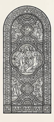 Gibbs Drawing - Stained Glass Window by J.a. Gibbs, English School