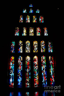 Photograph - Stained Glass Windows At Basilica Of The Annunciation by Eva Kaufman