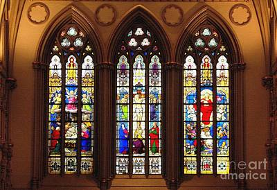 Glass Photograph - Stained Glass Windows At Saint Josephs Cathedral Buffalo New York by Rose Santuci-Sofranko