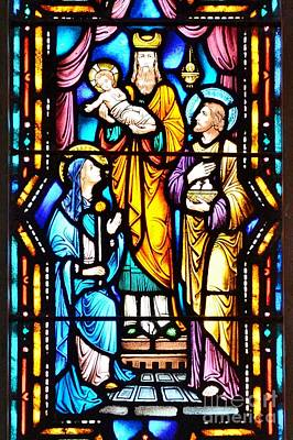 Religious Photograph - Stained Glass Windows At St. Edmond Church 2 - Rehoboth Beach Delaware by Kim Bemis