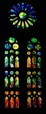 Photograph - Stained Glass Windows - Sagrada Familia Barcelona Spain by Georgia Mizuleva