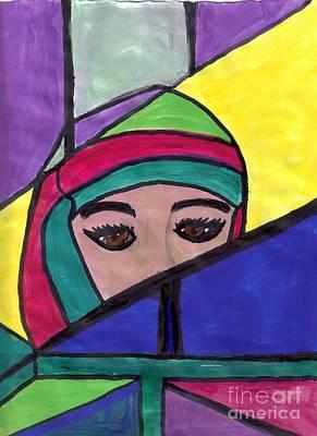 Stained Glass Woman Art Print by Debbie Wassmann
