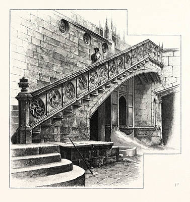 Barcelona Drawing - Staircase At The Entrance To The Casa De La Disputacion by Spanish School