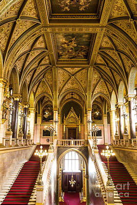 Angels And Cherubs - Staircase Hungarian Parliament- B by Rhonda Krause
