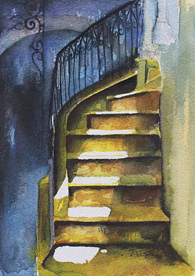 Staircase In Aleppo With Blue Shadows Art Print