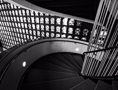 Country Music Hall Of Fame And Museum Photograph - Staircase In Black And White by Dan Sproul
