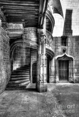 Photograph - Staircase In Dijon Bw by Mel Steinhauer