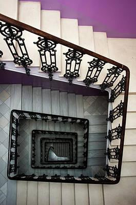 Photograph - Staircase In Purple Nest Hostel by Krzysztof Dydynski