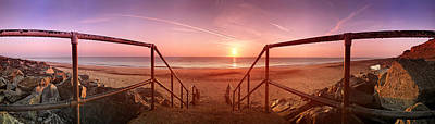 Staircase Scenes Photograph - Staircase Leading Towards A Beach by Panoramic Images