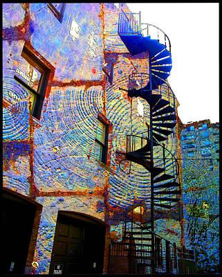 Digital Art - Staircase On Wood Bricks by Zac AlleyWalker Lowing
