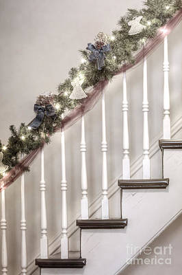 Stairs At Christmas Art Print by Margie Hurwich