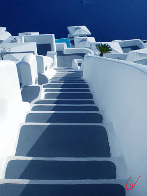 Stairs Down To Ocean Santorini Art Print