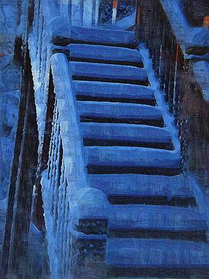 Mitchell Gibson Digital Art - Stairs In Snow by Mitchell Gibson