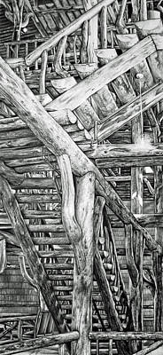 Yellowstone Drawing - Stairs by Tara Aguilar