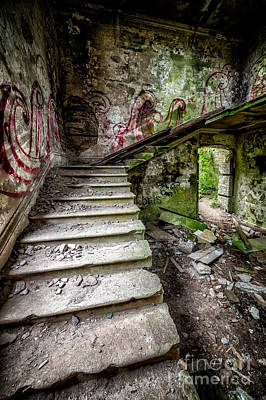 Dilapidated Digital Art - Stairway Graffiti by Adrian Evans