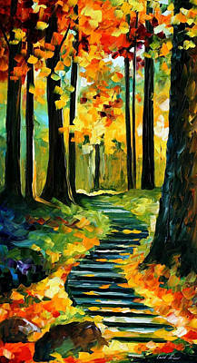 Stairway In The Old Park - Palette Knife Oil Painting On Canvas By Leonid Afremov Original by Leonid Afremov