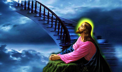 Print featuring the digital art Stairway To Heaven by Karen Showell