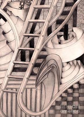 Art Print featuring the drawing Stairway To.... by John Stuart Webbstock