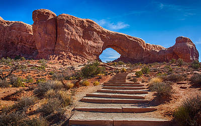 Photograph - Stairway To North Windows Arch by John M Bailey