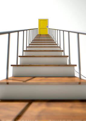 Decision Digital Art - Stairway To Yellow Door by Allan Swart