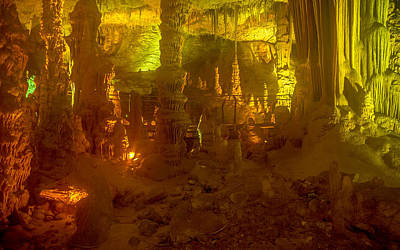 Photograph - Stalactite Cave In Yellow by Mark Perelmuter