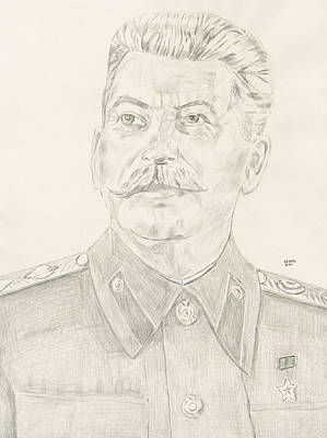 World Leader Drawing - Stalin by Dennis Larson