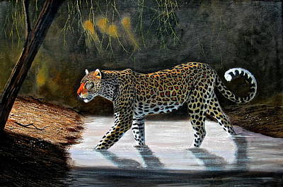 Painting - Stalking Leopard by Wycliffe Ndwiga