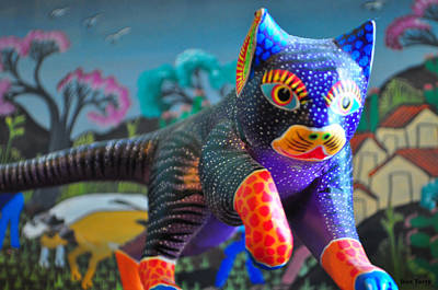 Cat Wood Carving Photograph - Stalking Oaxaca Cat  by Dan Terry