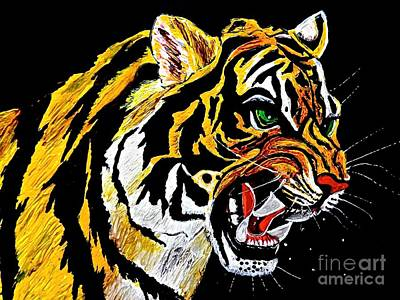 Painting - Stalking Tiger Searching For Prey by Saundra Myles
