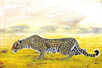 Painting - Stalking by Wycliffe Ndwiga