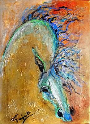 Stallion In Gold Art Print