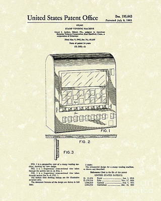 Stamps Drawing - Stamp Vending 1963 Patent Art by Prior Art Design