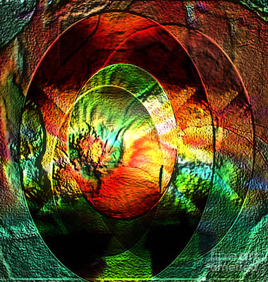 Stamped Mirror Of Love Art Print by Gayle Price Thomas