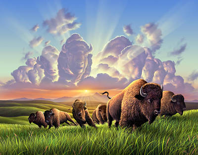 Bison Wall Art - Painting - Stampede by Jerry LoFaro