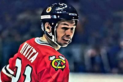 Hockey Painting - Stan Mikita Portrait by Florian Rodarte