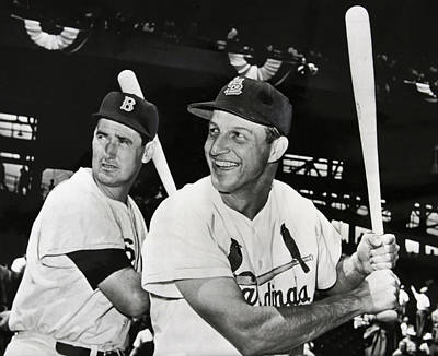 Stan Musial And Ted Williams Art Print by Daniel Hagerman